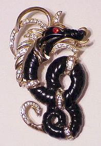 Hattie Carnegie ebony  dragon brooch