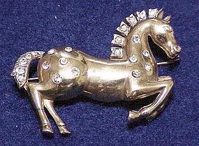 Trifari 'Alfred Philippe' gold tone prancing horse pin