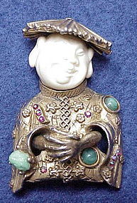 Har laughing Asian man brooch -gold tone