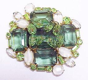 Carnegie emerald green & givre white rhinestone brooch
