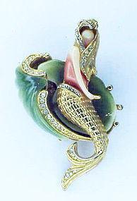 Carnegie thermoplastic & rhinestone mermaid brooch