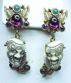 Selro jeweled white Noh mask dangle earrings