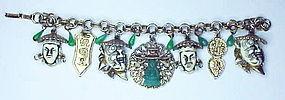 Selro Noh mask white face warrior fob charm bracelet