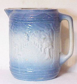 """Blue and white stone ware """"Avenue of trees""""  pitcher"""