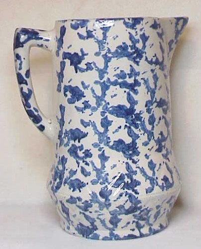 Spongeware pitcher,  blue sponging on white