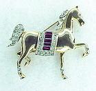 Trifari Alfred Philippe pave trotting horse