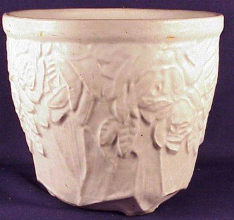 """McCoy 6 1/2"""" white rose urn vase"""