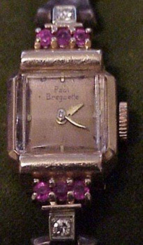 14K Rose Gold Paul Breguette diamond/ ruby watch