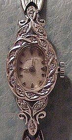 14K white gold & diamond Hamilton ladies wrist watch