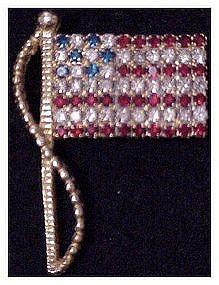 Rafaelian rhinestone stars and stripes flag pin