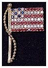Rhinestone Stars & Stripes flag pin, Pole and Halyard