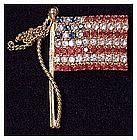 Rhinestone stars & stripes flag pin Pole and Halyard