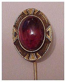 """14K Art Nouveau Garnet Stickpin  (2 1/2"""")"""