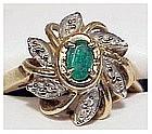 14K yellow gold diamond with emerald center stone