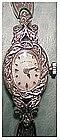 14K white gold Hamilton ladies diamond wrist watch (17J