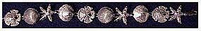"Sterling 7"" starfish, sand dollar & scallop bracelet"