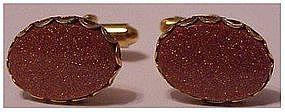 Gold stone cufflinks / cuff link