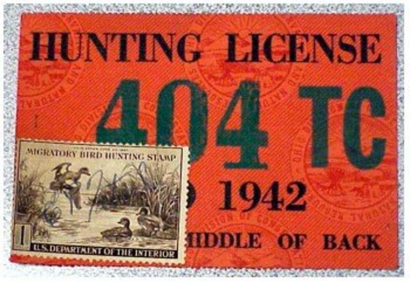 Ohio 1942 resident hunting  & trapping license