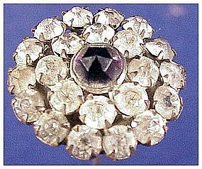 """Edwardian faceted  white paste 9 1/2"""" hatpin / hat pin"""