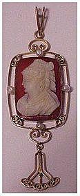 10K Victorian carnelian cameo seed pearls lavalier