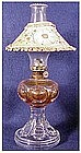 Bullseye with diamond point miniature oil lamp, shade