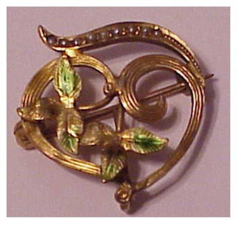 14K Art Nouveau seed pearl,enamel  pin with watch hook