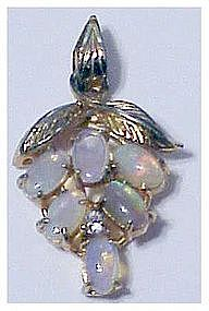 Lavalier  with 6 opals -gold filled