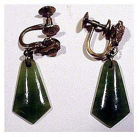 Jade screw back gold filled earrings