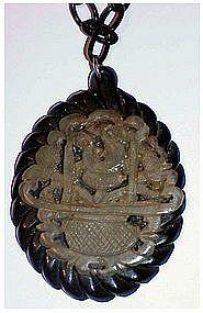 Large Bakelite Mourning Jade flower basket Necklace (no