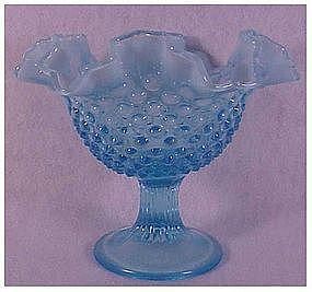 Fenton blue hobnail footed comport compote