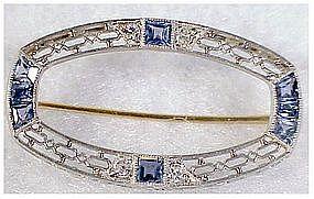 Platinum corn flower sapphires oval pin
