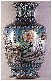 "Cloisonne 15 1/4"" vase, eight cranes, Chinese"