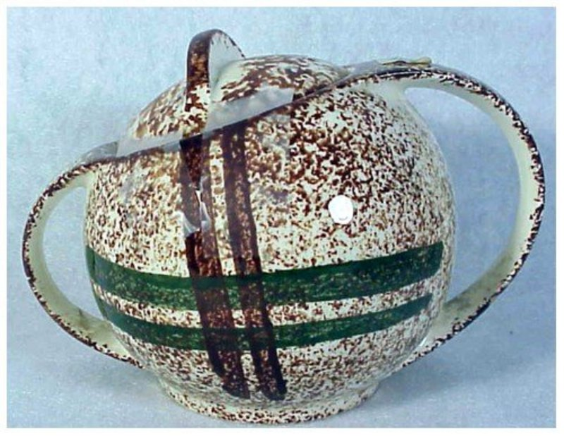Rustic Plaid Blue Ridge Southern Pottery sugar with lid