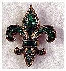 Enameled fleur de lis watch pin holder - Victorian