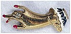 Lady's hand brooch, gold plated metal, enamel accents