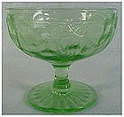 "Cameo- green Anchor Hocking low sherbet (3 1/8"")"