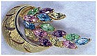 Weiss gold tone flower basket colored marquise stones