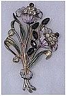 1940s Enamel & Rhinestone flower spray brooch / pin
