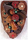 Czechoslovakia floral bouquet in colored wooden beads