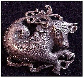 Cini sterling: Zodiac Taurus pin  (April 20 - May 20)sm