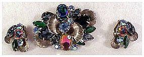 Juliana watermellon floral spray pin & earrings set