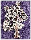 Sandor sterling floral spray pin sapphire rhinestones