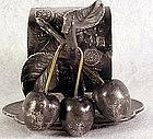 Victorian Acme Silver Co three cherries napkin holder
