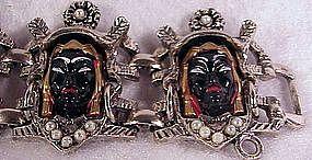 Africana Tribal Head link bracelet  -1940's Selro ?