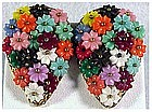 Wired Floral dress clip small 5 petaled plastic flowers