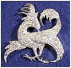 Boucher Exotic Gryphon bird brooch clear rhinestones