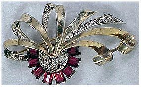 Boucher Phrygian Cap sterling vermeil retro ribbon pin