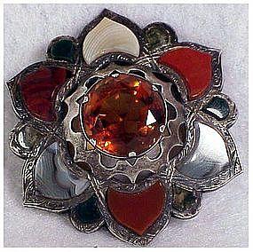 Sterling  Scottish Agate cairngorn brooch- pre 1880