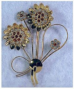 CoroCraft sterling vermeil sunflower brooch