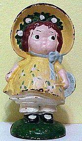 Sunbonnet Sue / Dolly Dimple cast iron doorstop / bank